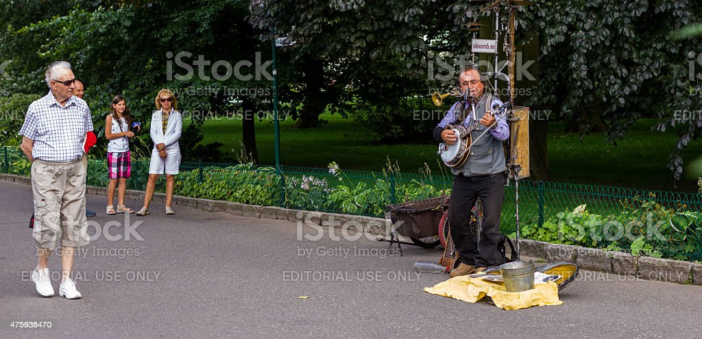 Street singer Karlovy Vary stock photo