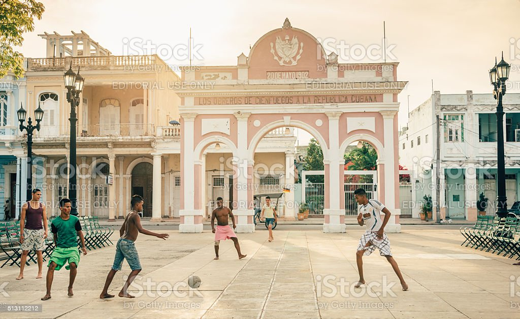 street soccer in Cuba stock photo