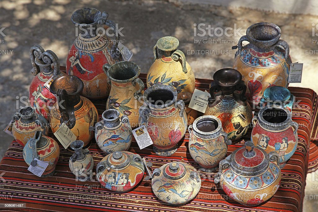 Street souvenir shop with traditional Greek  pottery stock photo