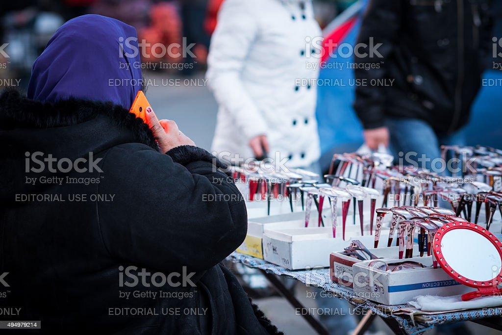 Street spectasle seller stock photo