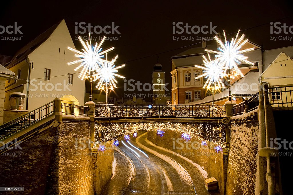 street square winter snow Christmas New Year lights decoration royalty-free stock photo
