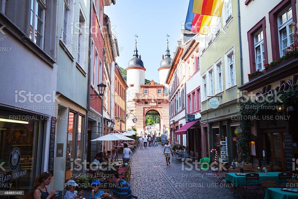 Street Steingasse in Heidelberg stock photo