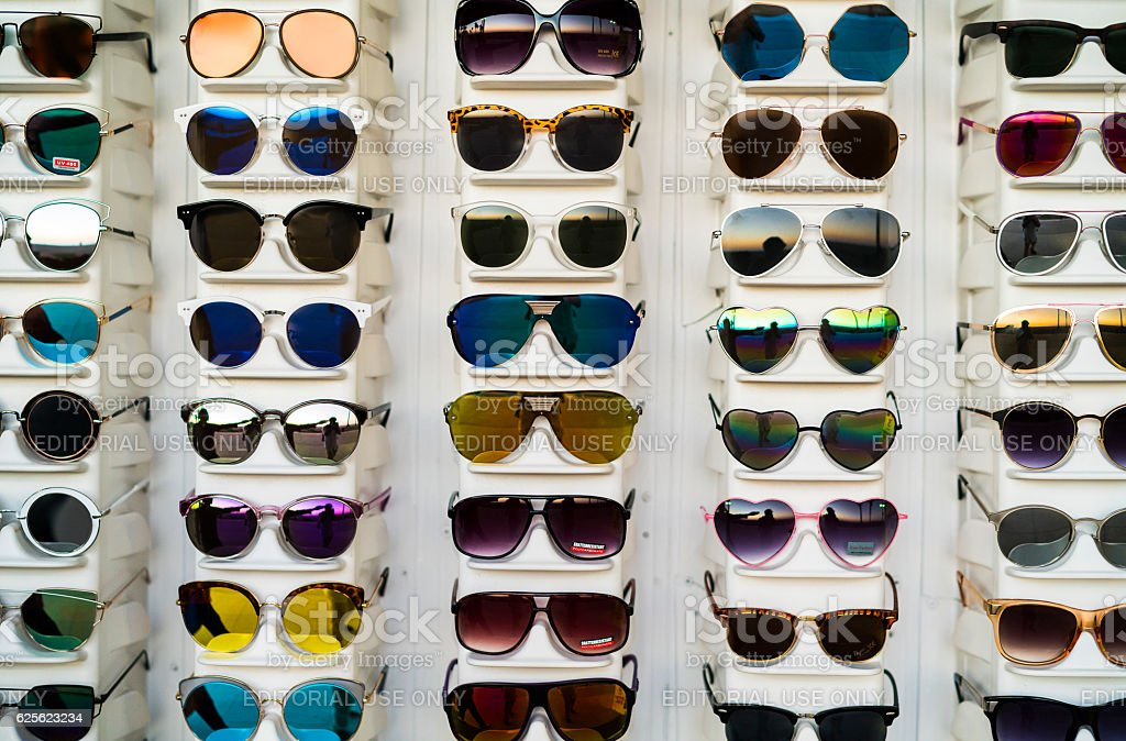 Street store with sunglasses stock photo