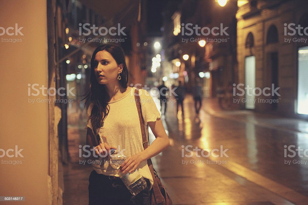 street style fashion at night stock photo