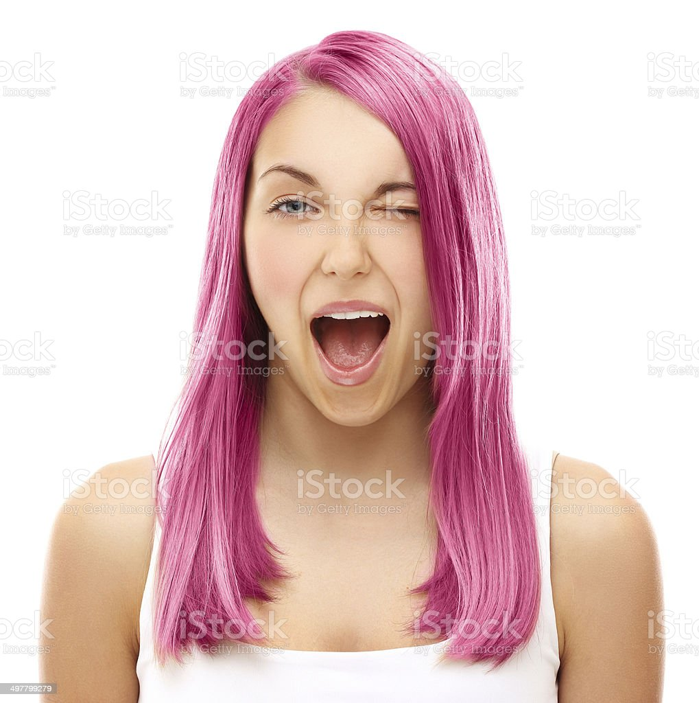 Street style-colored hair.Pink royalty-free stock photo