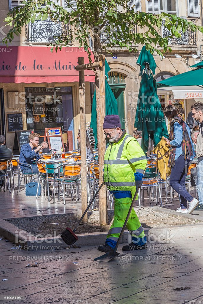 street sweeper cleans the street stock photo