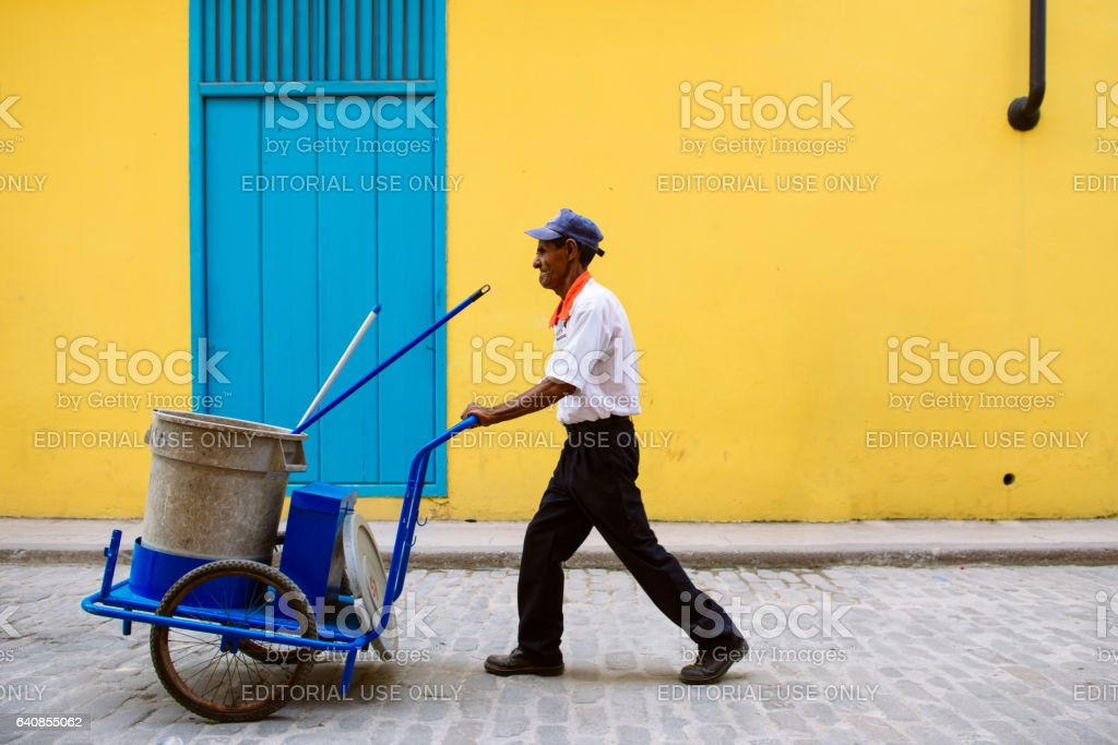 Street Sweeper in Old Havana, Cuba stock photo