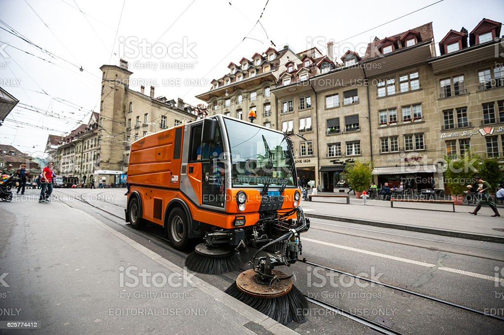 Street sweeper vehicle in Bern, Switzerland stock photo