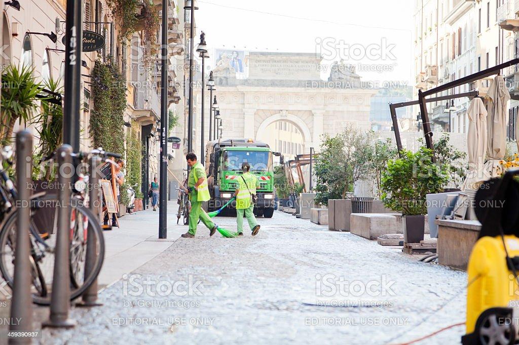 street swipers in milan stock photo