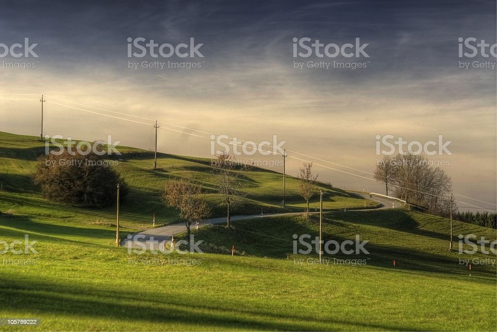 Street through fields hdr royalty-free stock photo