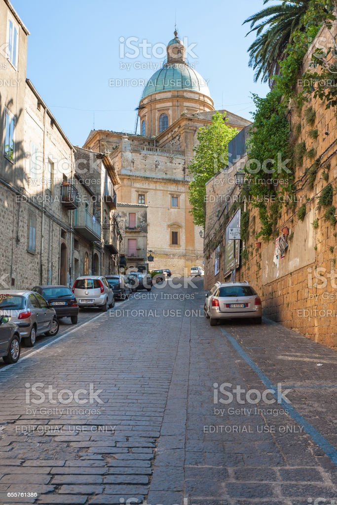 street to Duomo Cathedral in Piazza Armerina stock photo