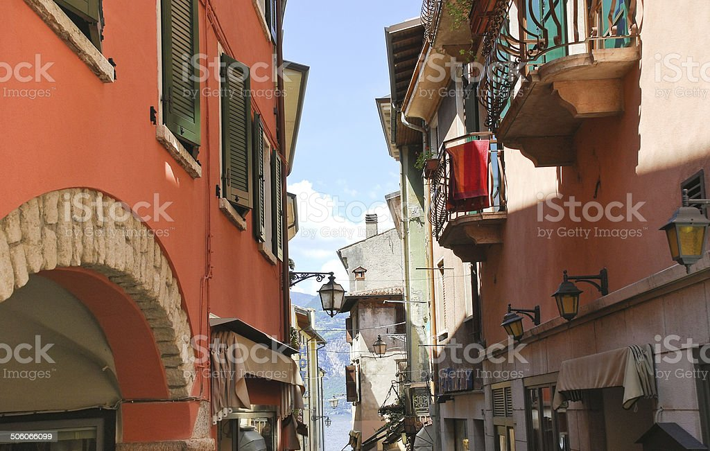 street to Lake Garda in Malcesine town, Italy stock photo