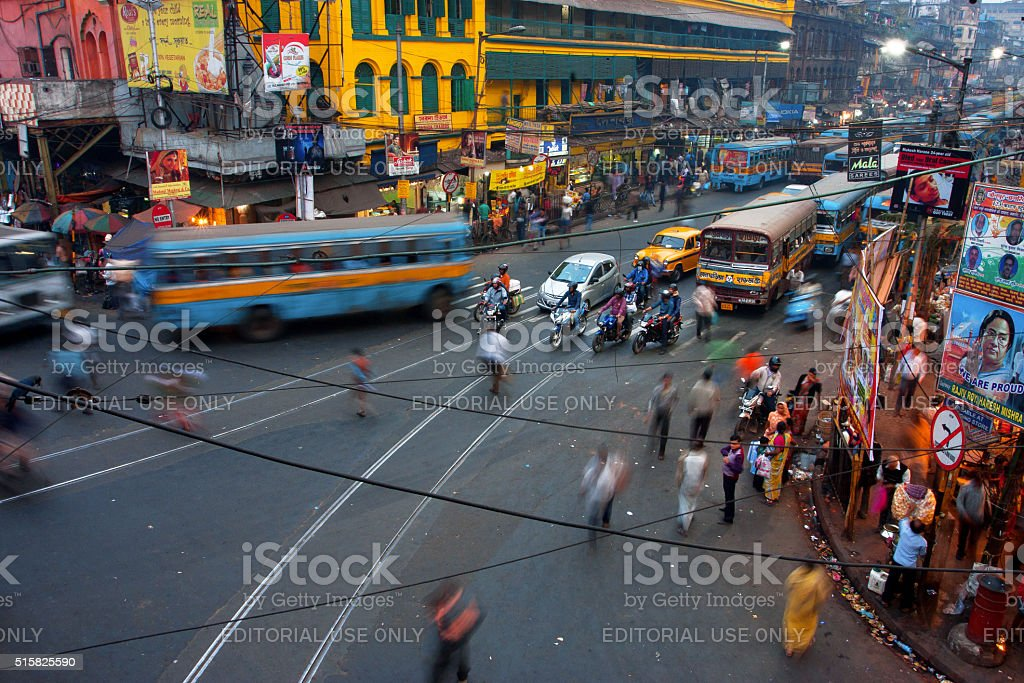 Street traffic blurred in motion at evening stock photo