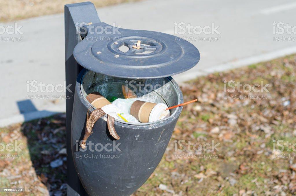 Street trash can. Garbage in the city. Novi Sad, Serbia. stock photo