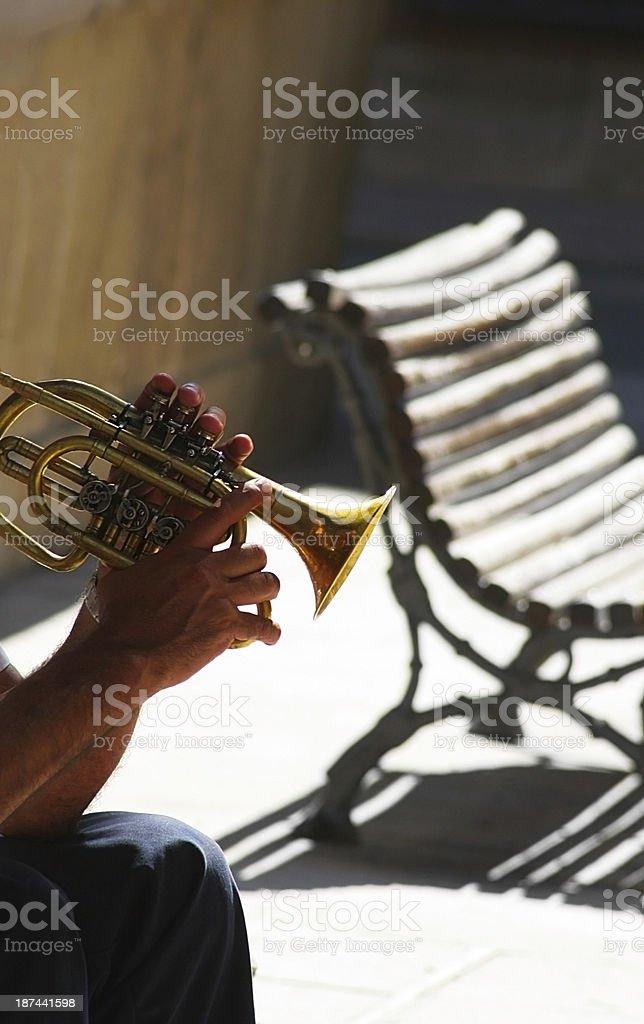 street trumpet musician stock photo