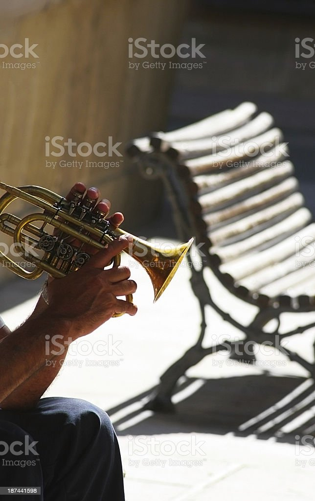 street trumpet musician stock photo