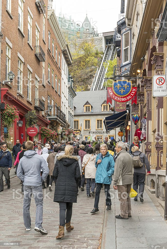 Rue Sous le Fort Old Quebec City Street royalty-free stock photo