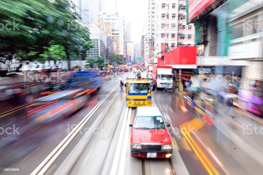 Street Under the Rain,abstraction, blurred, Hong Kong, China stock photo