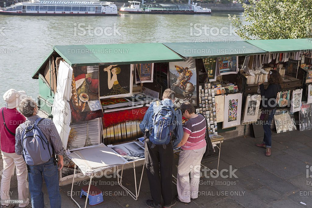 Street vendor booths at Seine riverbank in Paris, France stock photo