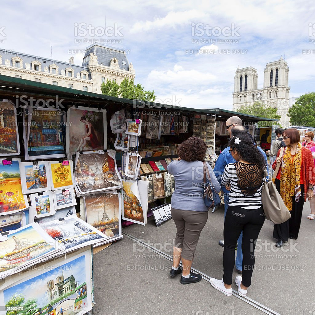Street vendor booths at Seine riverbank in Paris. royalty-free stock photo