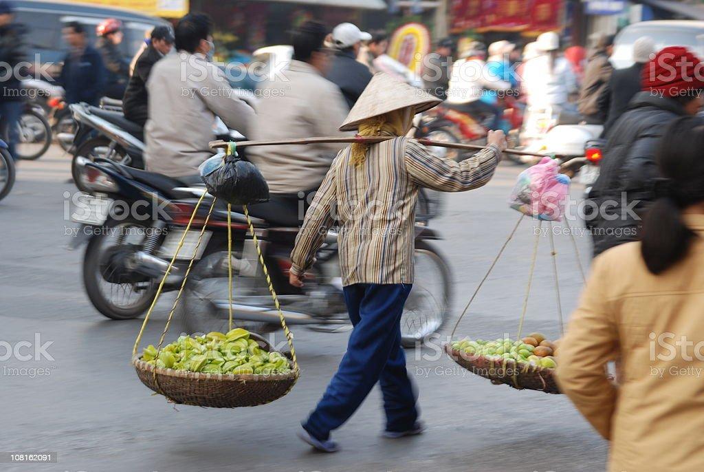 Street vendor in Hanoi stock photo