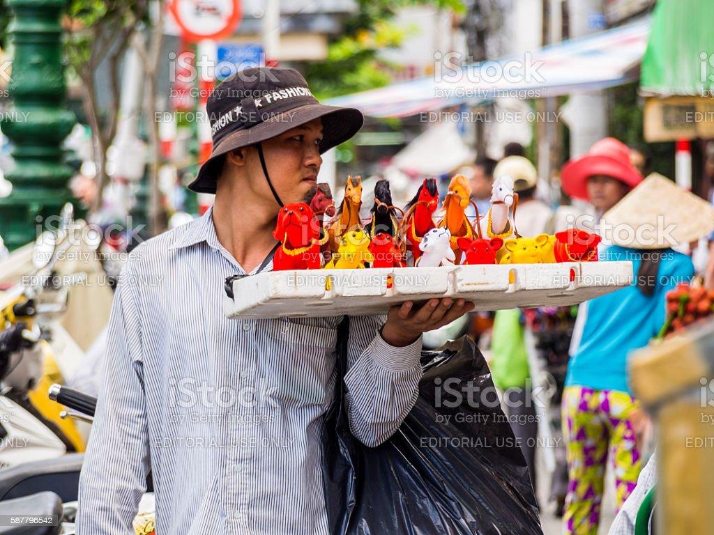 Street Vendor in Ho Chi Minh, Vietnam stock photo