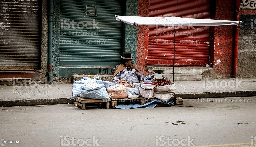 Street vendor in La Paz, Bolivia stock photo