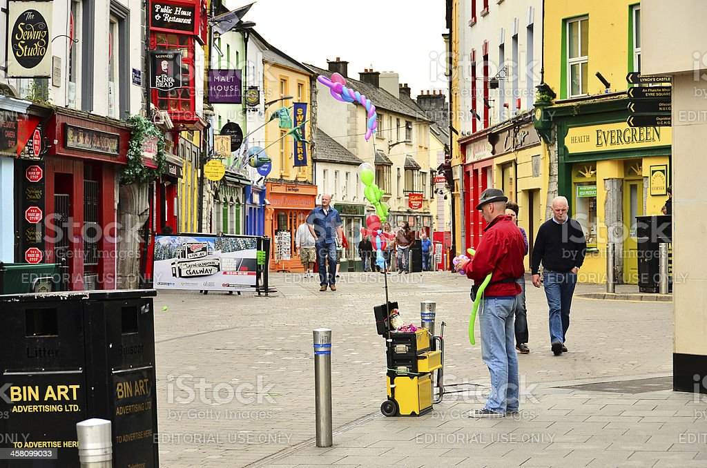 Street vendor of balloons in Galway, Ireland stock photo