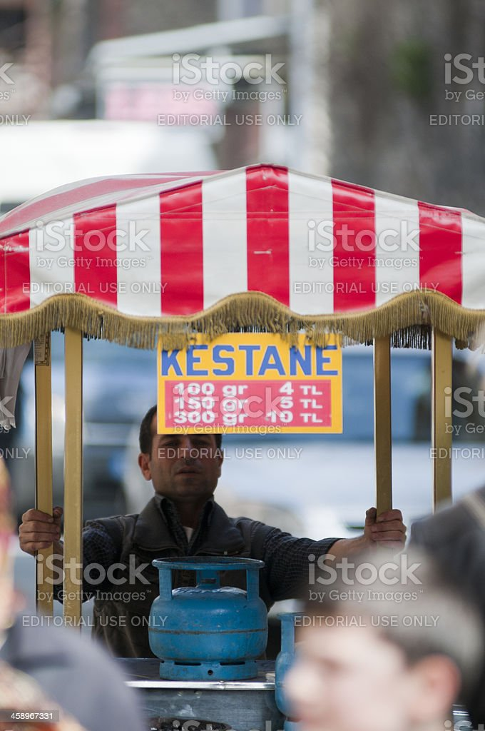 Street vendor selling chestnuts from a mobile stall, Istanbul stock photo