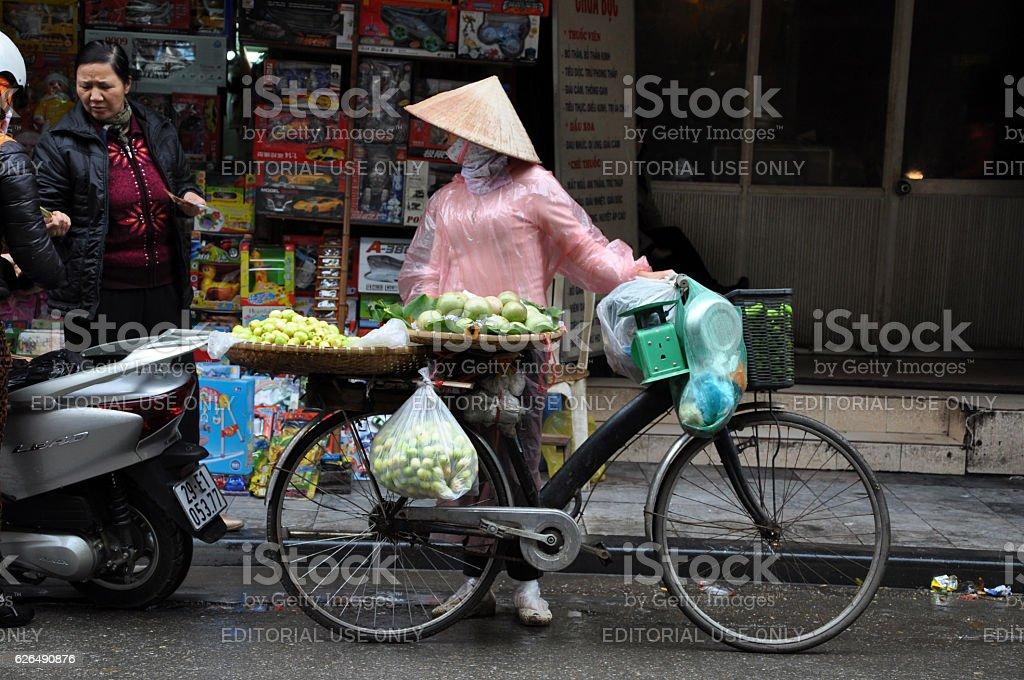 Street vendor selling goods in Hanoi, Vietnam stock photo