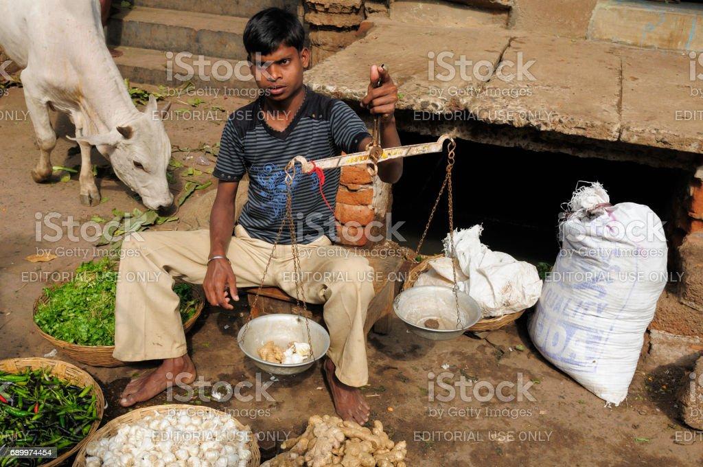 Street vendor selling, India stock photo