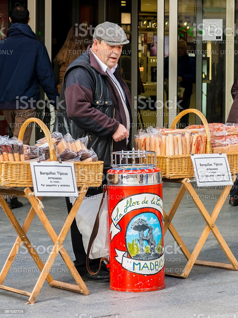 Street vendor sells artisan products in Madrid, Spain stock photo