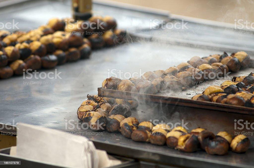 Street vendor sells freshly roasted chestnuts in Istanbul, Turkey stock photo