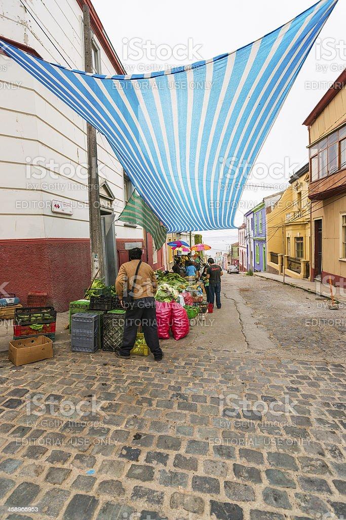 Street Vendor Stall on Cerro Concepción in Valparaiso, Chile stock photo