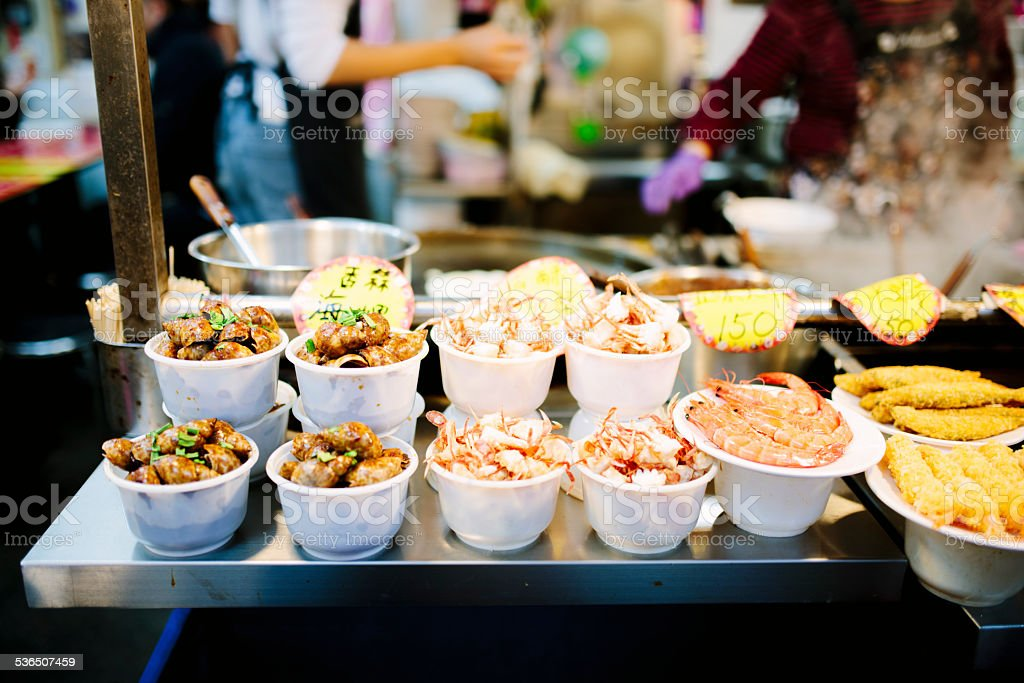Street vendor, traditional seafood dishes, Taipei, Taiwan stock photo