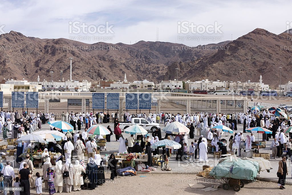 Street vendors around the valley of Mount Uhud,Medina royalty-free stock photo