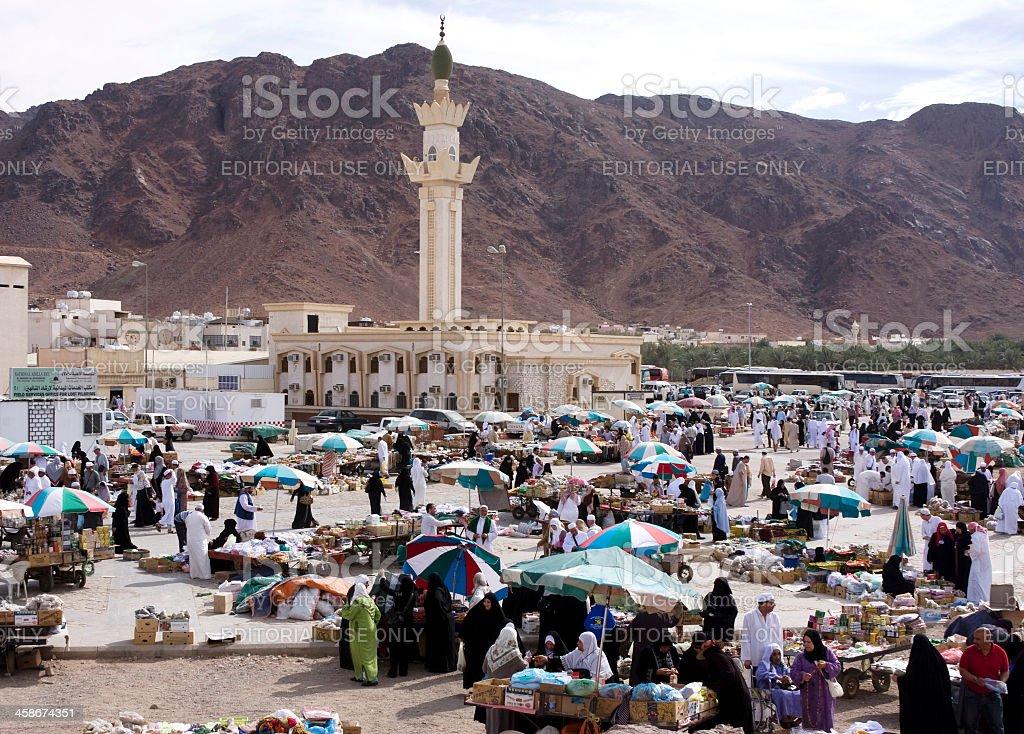 Street vendors around the valley of Mount Uhud,Medina royalty-free stock photo