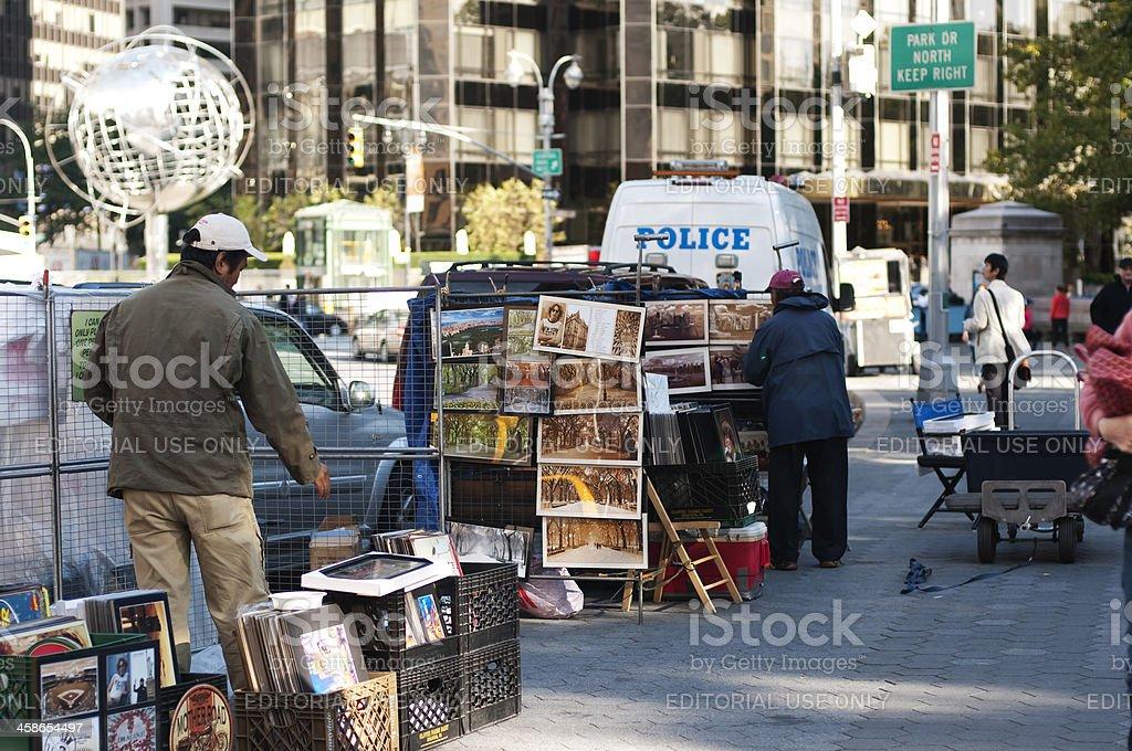 Street Vendors at the Clolumbus Circle in New York stock photo