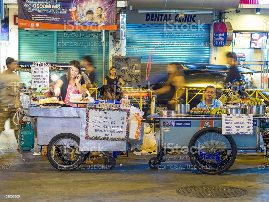 Street vendors, Khao San Road, Bangkok, Thailand stock photo