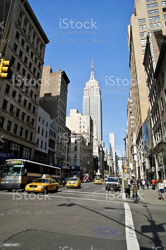 NYC street view along 5th Ave. with Empire State Building stock photo