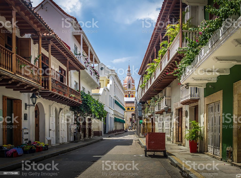 Street view and Cathedral - Cartagena de Indias, Colombia stock photo