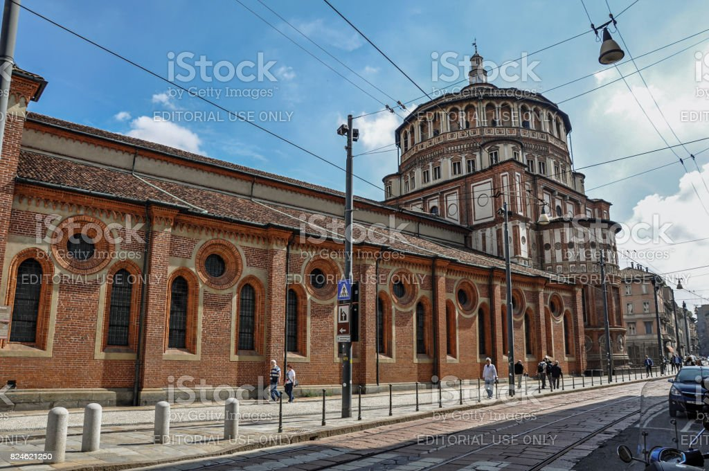 Street view and the side of the church of Santa Maria delle Grazie in Milan stock photo