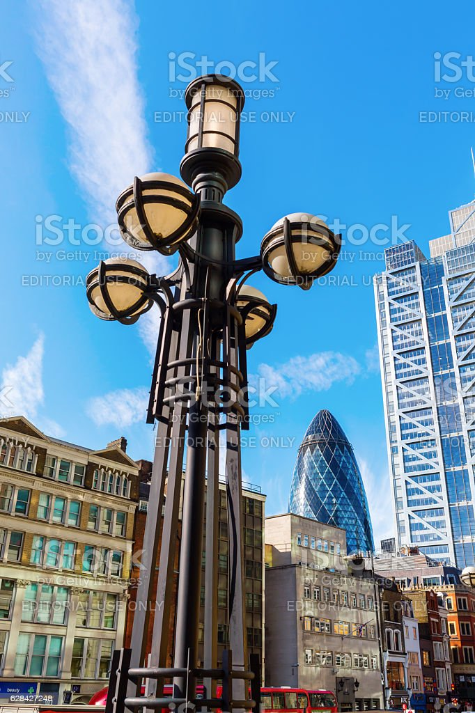 street view at Bishopsgate in the City of London stock photo