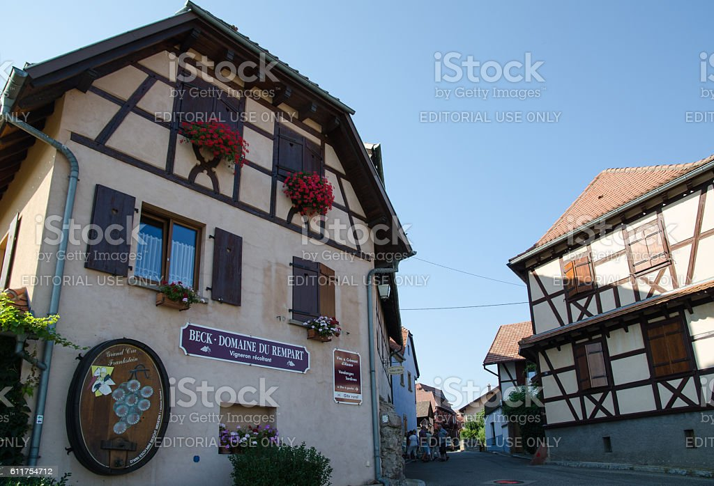 Street view by Rue des Remparts in Dambach-la-Ville in France stock photo