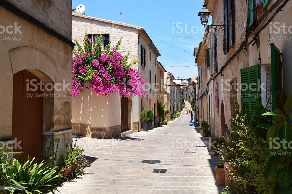 Street view from Alcudia on Mallorca stock photo