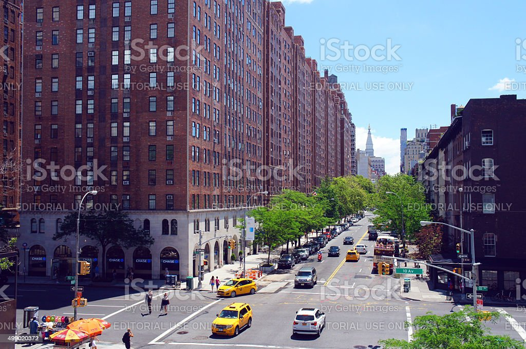 Street view from High Line park stock photo