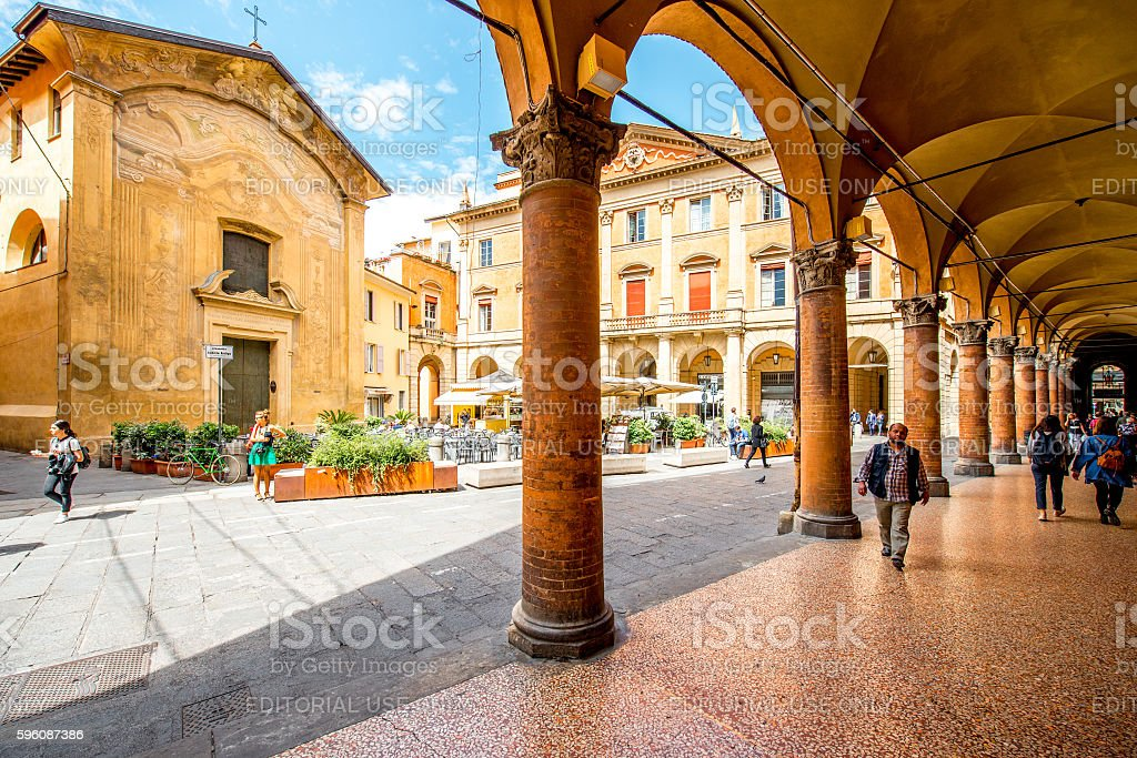 Street view in Bologna city stock photo