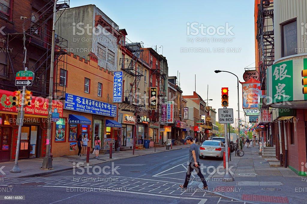 Street view in Chinatown in Philadelphia PA stock photo