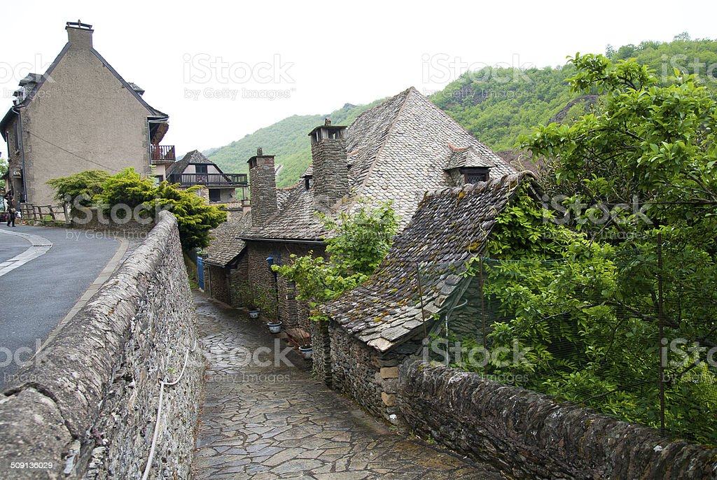 Street view in Conques, France stock photo