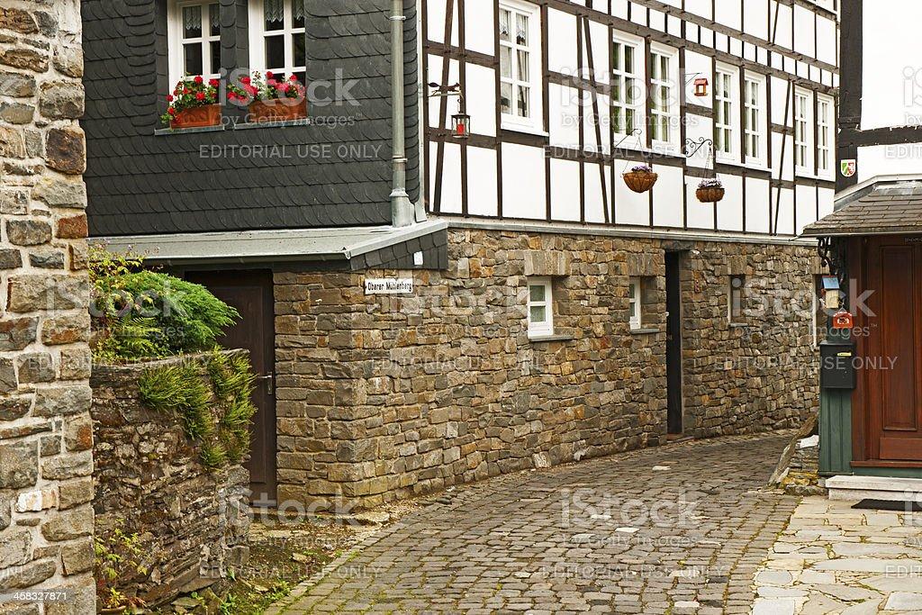 Street view in Monschau stock photo